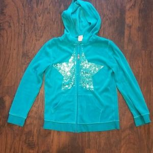 GIRLS TEAL SWEATER SIZE LG 10/12